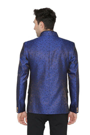 Banarsi Rayon Cotton Blue Bandhgala