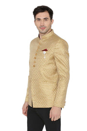 Banarsi Rayon Cotton Gold Bandhgala