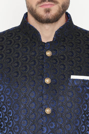 EmbroideRed Velvet Blue Bandhgala