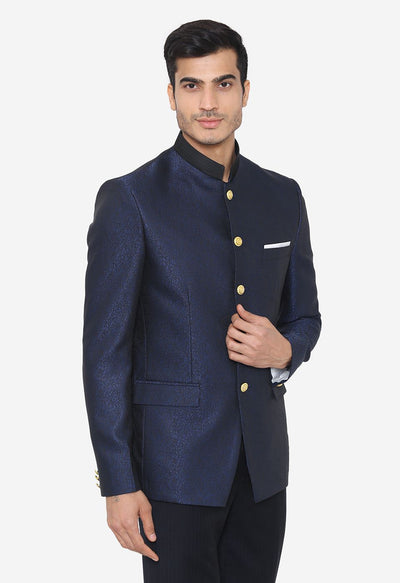 Jacquard Fabric Blue Blazer