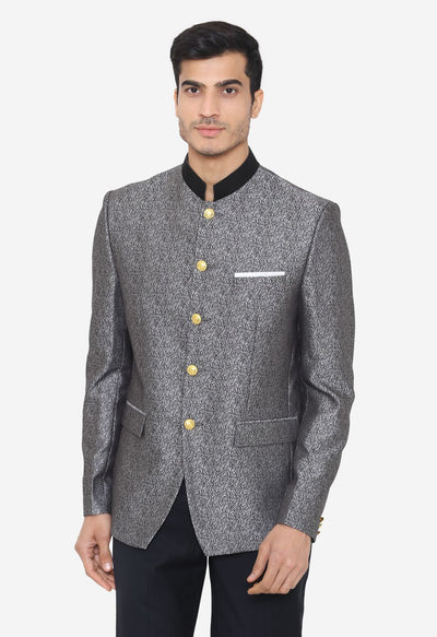 Jacquard Fabric Grey Blazer