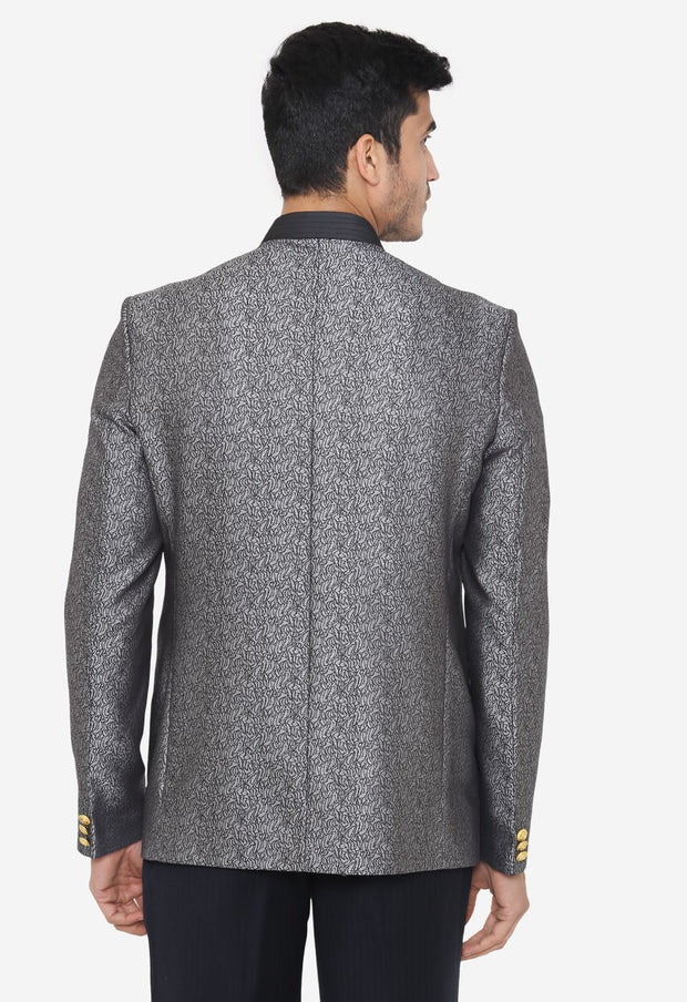 Jacquard Fabric Grey Bandhgala