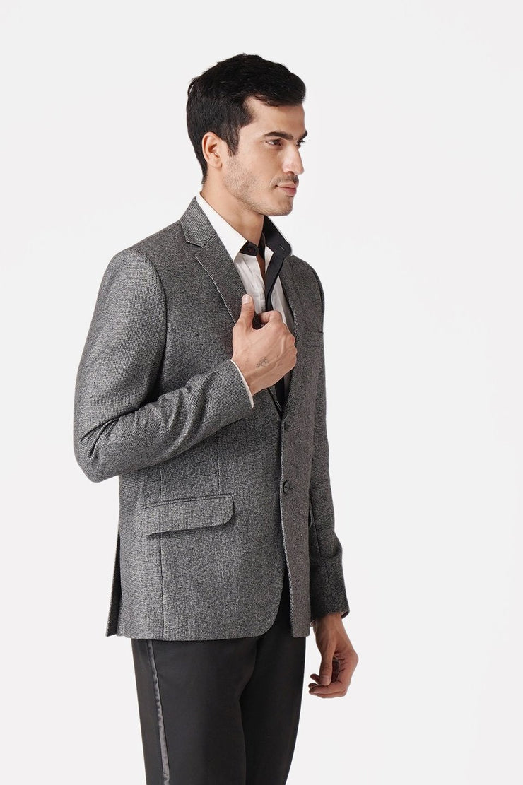 WINTAGE Men's Tweed Casual and Festive Blazer Coat Jacket: Grey