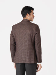 WINTAGE Men's Tweed Casual and Festive Blazer Coat Jacket: Dark Brown