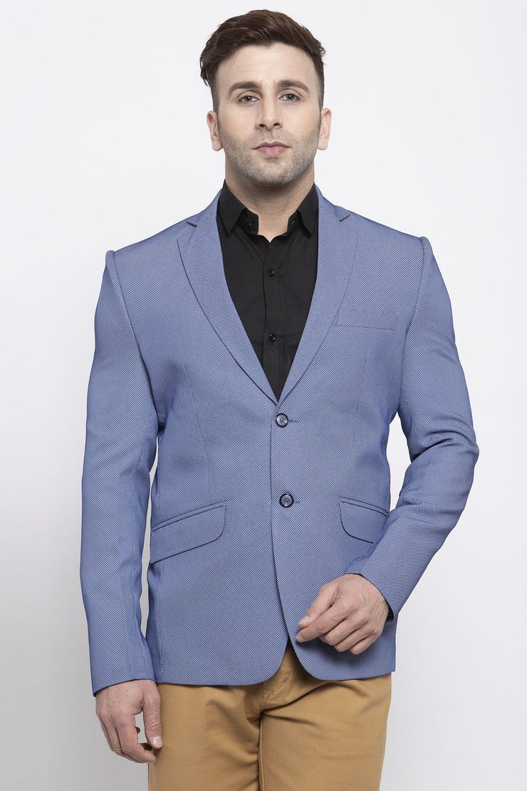WINTAGE Men's Polyester Cotton Festive and Casual Blazer Coat Jacket : Blue