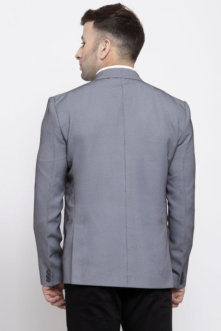 WINTAGE Men's Polyester Cotton Festive and Casual Blazer Coat Jacket : Silver