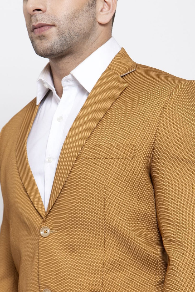 WINTAGE Men's Polyester Cotton Festive and Casual Blazer Coat Jacket : Brown