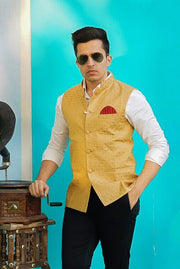Banarasi Art Silk Cotton Blend Gold Modi Nehru Jacket