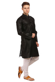 Cotton Silk Black Kurta Pyjama