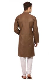 Cotton Silk Brown Kurta Pyjama