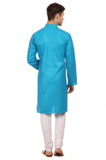 Cotton Silk Blue Kurta Pyjama