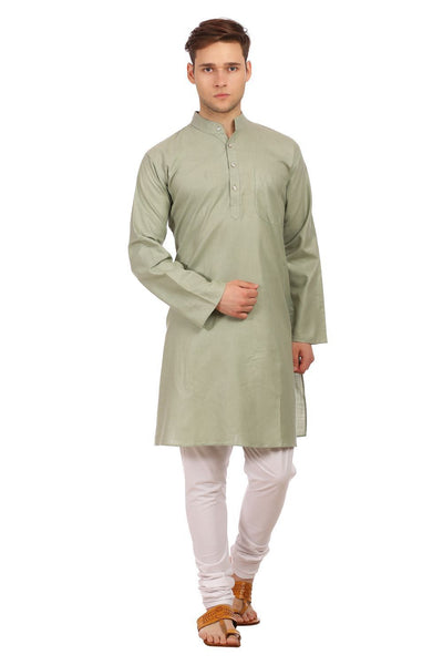 Cotton Silk Green Kurta Pyjama