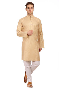 Cotton Silk Gold Kurta Pyjama
