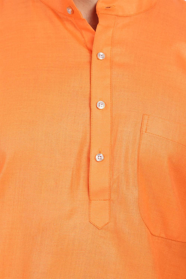 Cotton Silk Orange Kurta Pyjama