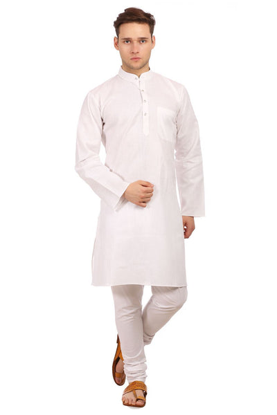 Cotton Silk White Kurta Pyjama