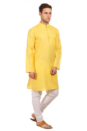 Cotton Silk Yellow Kurta Pyjama