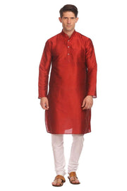 Banarasi Art Silk Red Kurta Pyjama