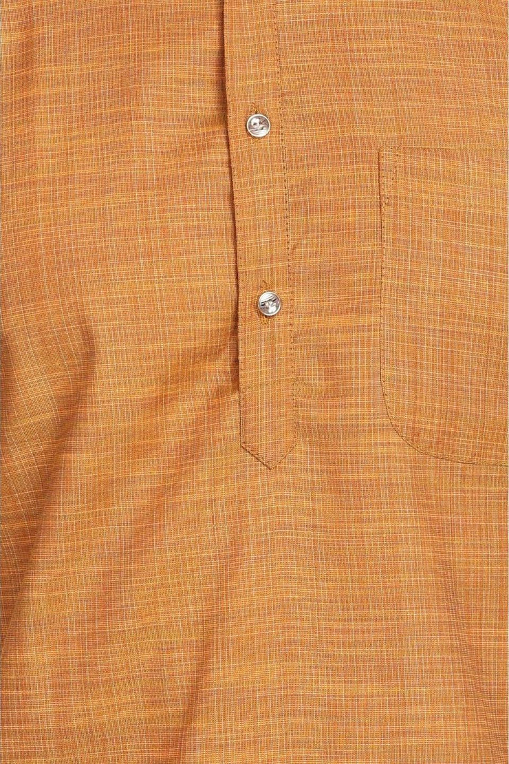 Handloom Poly-Cotton Brown Kurta Pyjama