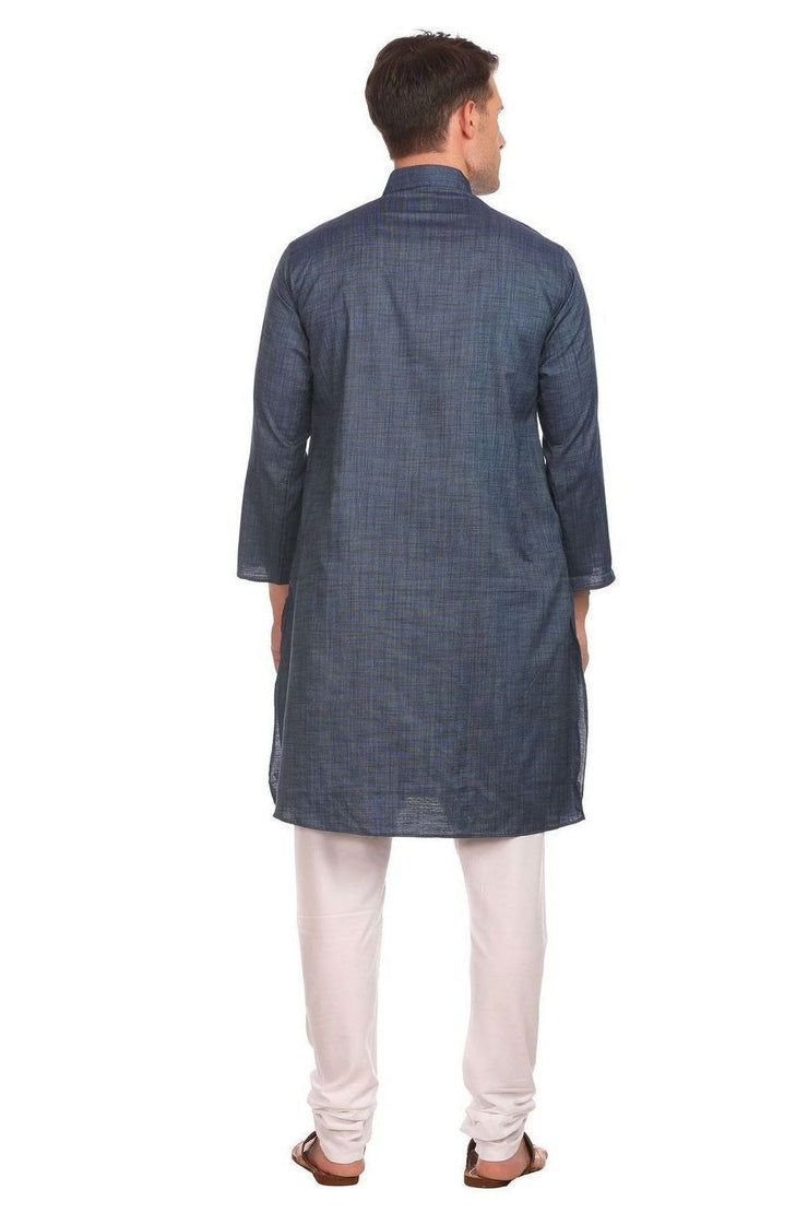 Handloom Poly-Cotton Blue Kurta Pyjama