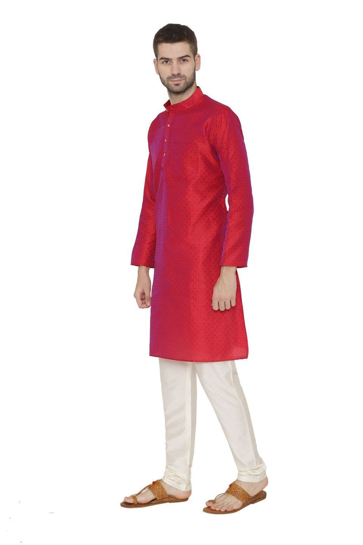 Banarasi Art Silk Red Kurta Pajama