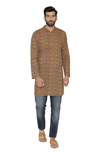 100% Cotton Yellow Long Indian Kurta