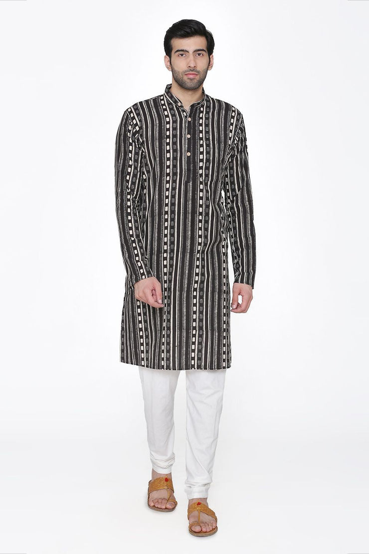 Jaipur 100%  Cotton Black Long Kurta
