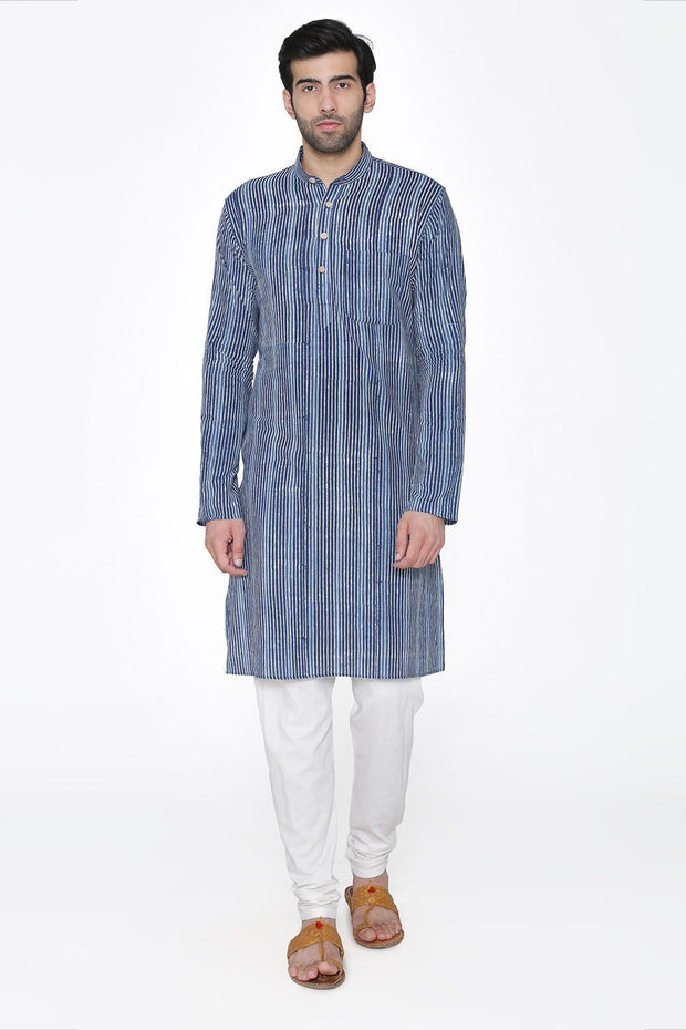 Jaipur 100%  Cotton Blue Long Kurta