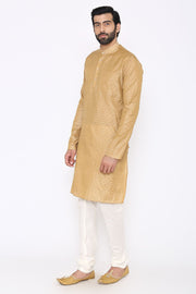 Banarasi Art Silk Cotton Blend Beige Long Kurta