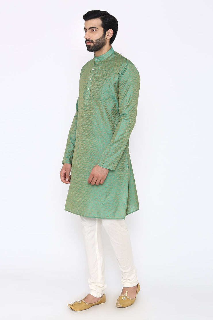 Banarasi Art Silk Cotton Blend Green Long Kurta