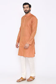 Banarasi Art Silk Cotton Blend Orange Long Kurta
