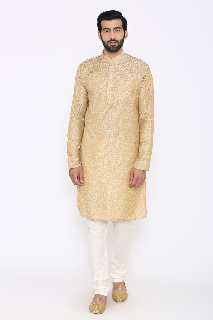 Banarasi Art Silk Cotton Blend Off-White Long Kurta
