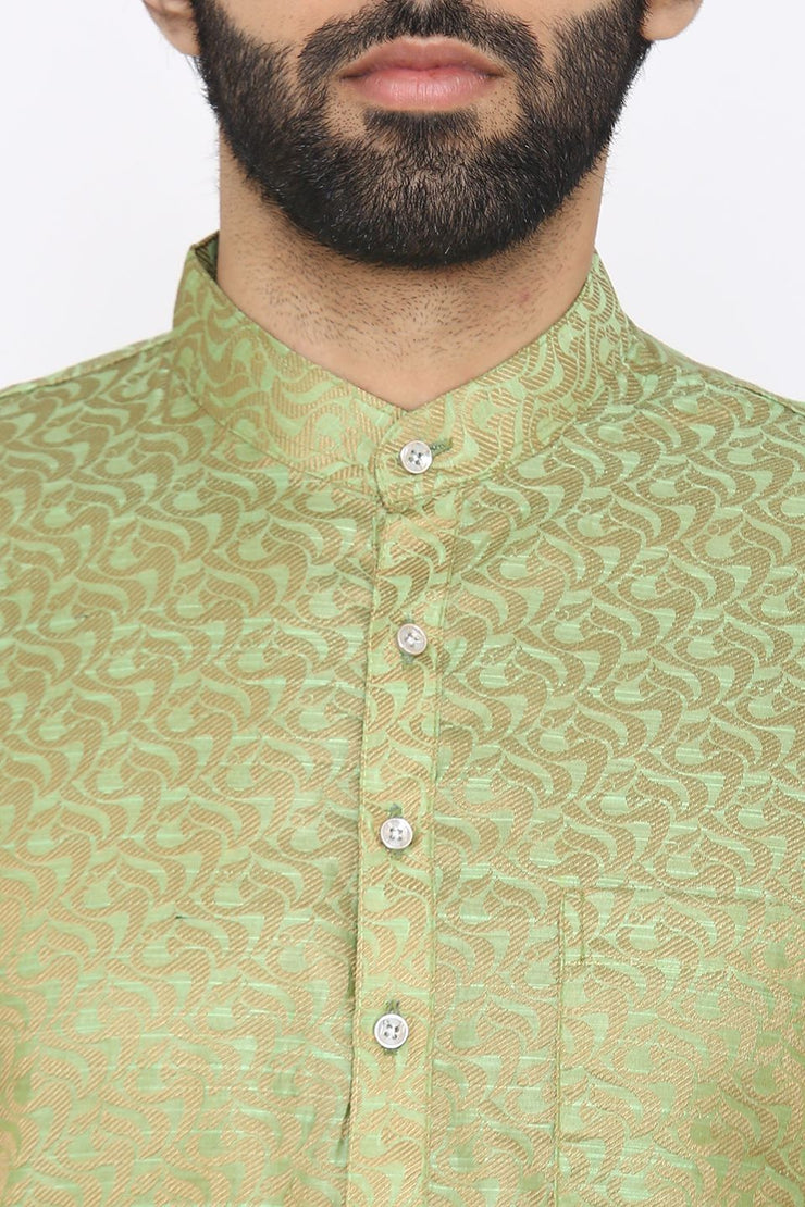 Banarasi Art Silk Cotton Blend Green Long Kurta Pajama