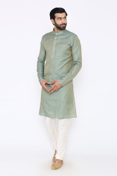 Banarasi Art Silk Cotton Blend Blue Long Kurta