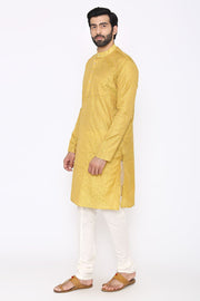 Banarasi Art Silk Cotton Blend Yellow Long Kurta