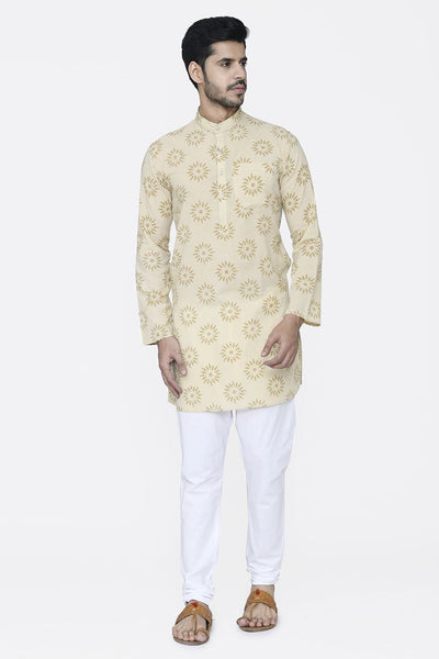 Jaipur 100% Cotton Yellow Long Kurta Pajama