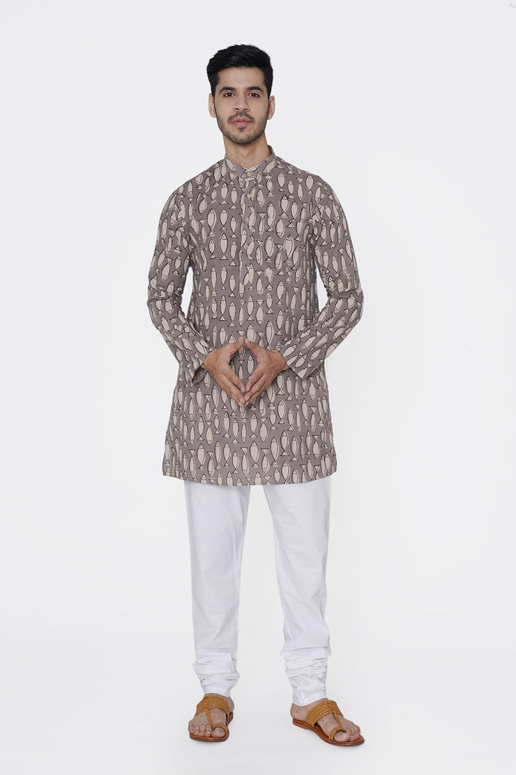 Jaipur 100% Cotton Brown Long Kurta Pajama