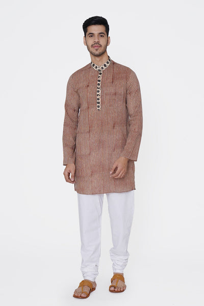 Jaipur 100% Cotton Light Red Long Kurta Pajama