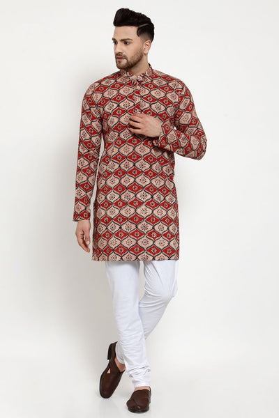 WINTAGE Men's Jaipur Cotton Festive and Casual Long Indian Kurta Sleepset: Red