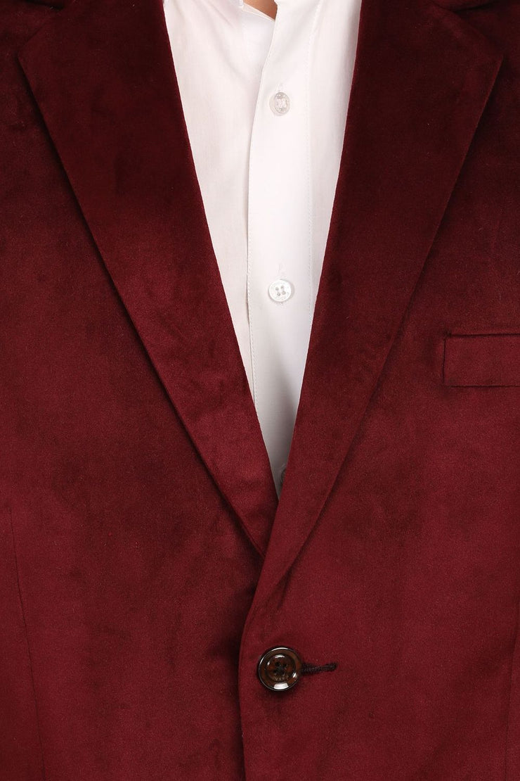 Dust Free Cotton Velvet Red Blazer