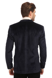 Dust Free Cotton Velvet Blue Blazer