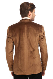 Dust Free Cotton Velvet Gold Blazer