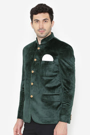 Cotton Velvet Green Bandhgala