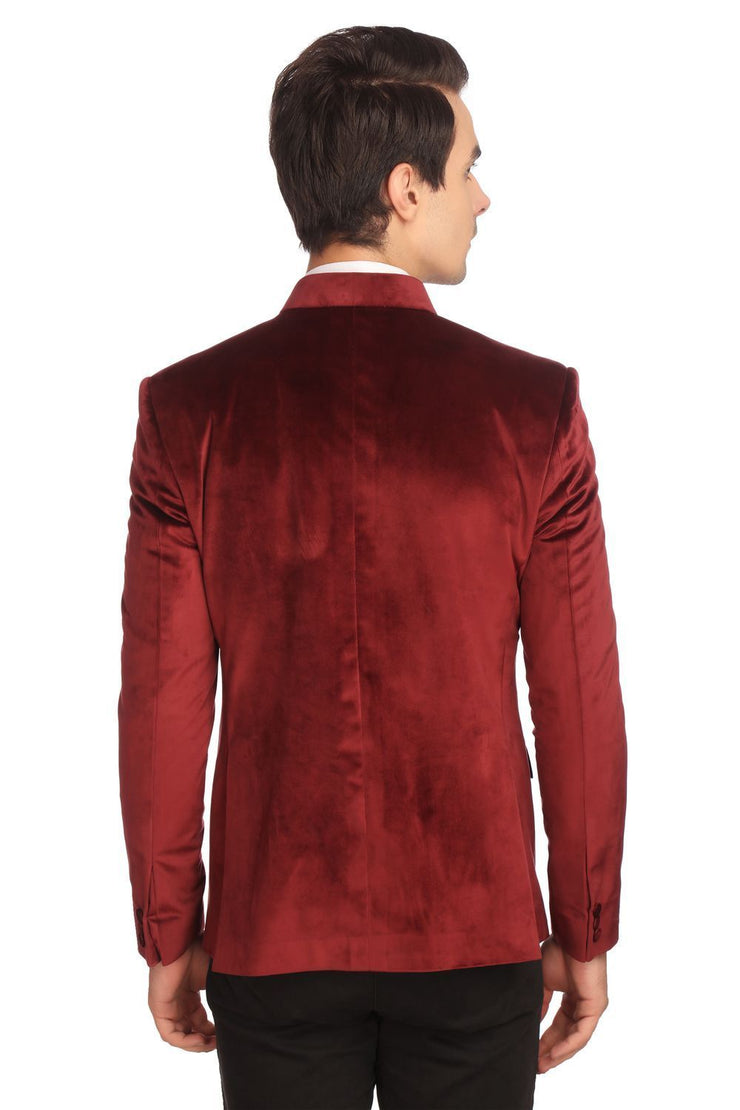 Dust-Free Cotton Velvet Red Bandhgala