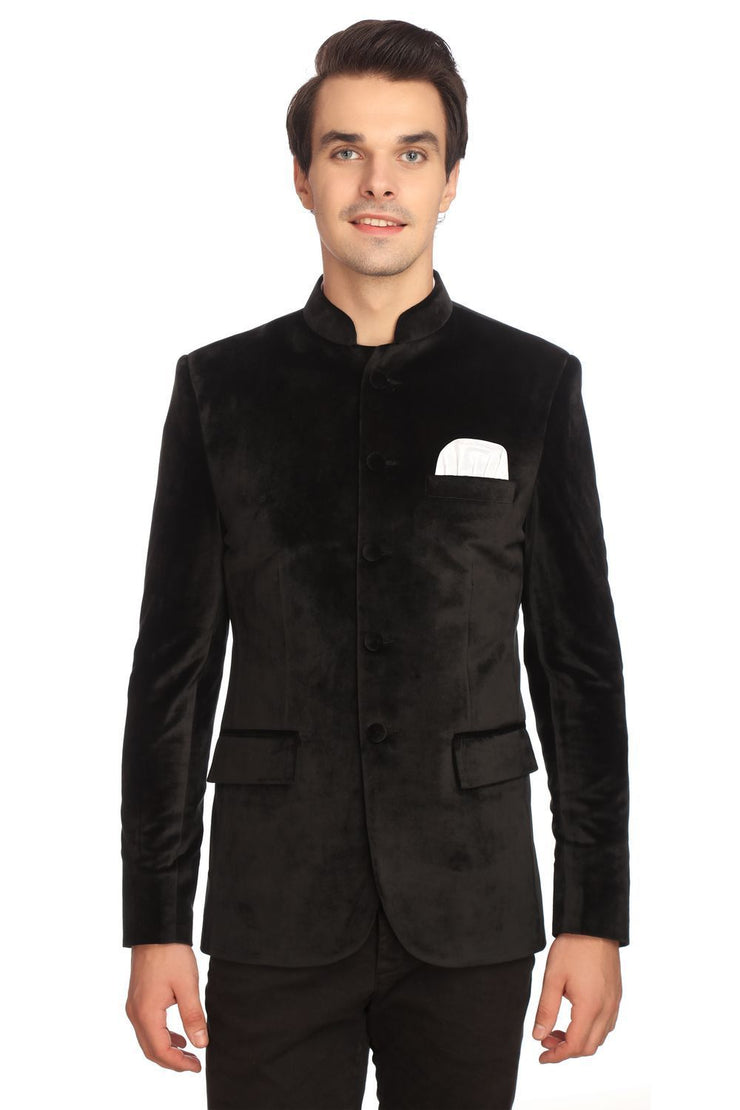 Dust-Free Cotton Velvet Black Bandhgala