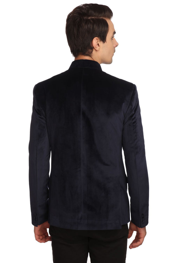 Dust-Free Cotton Velvet Blue Bandhgala