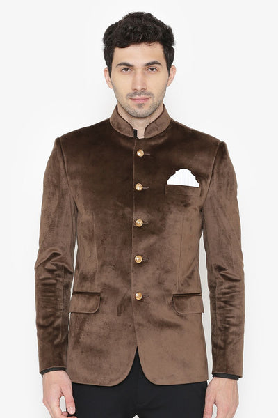 Cotton Velvet Brown Bandhgala
