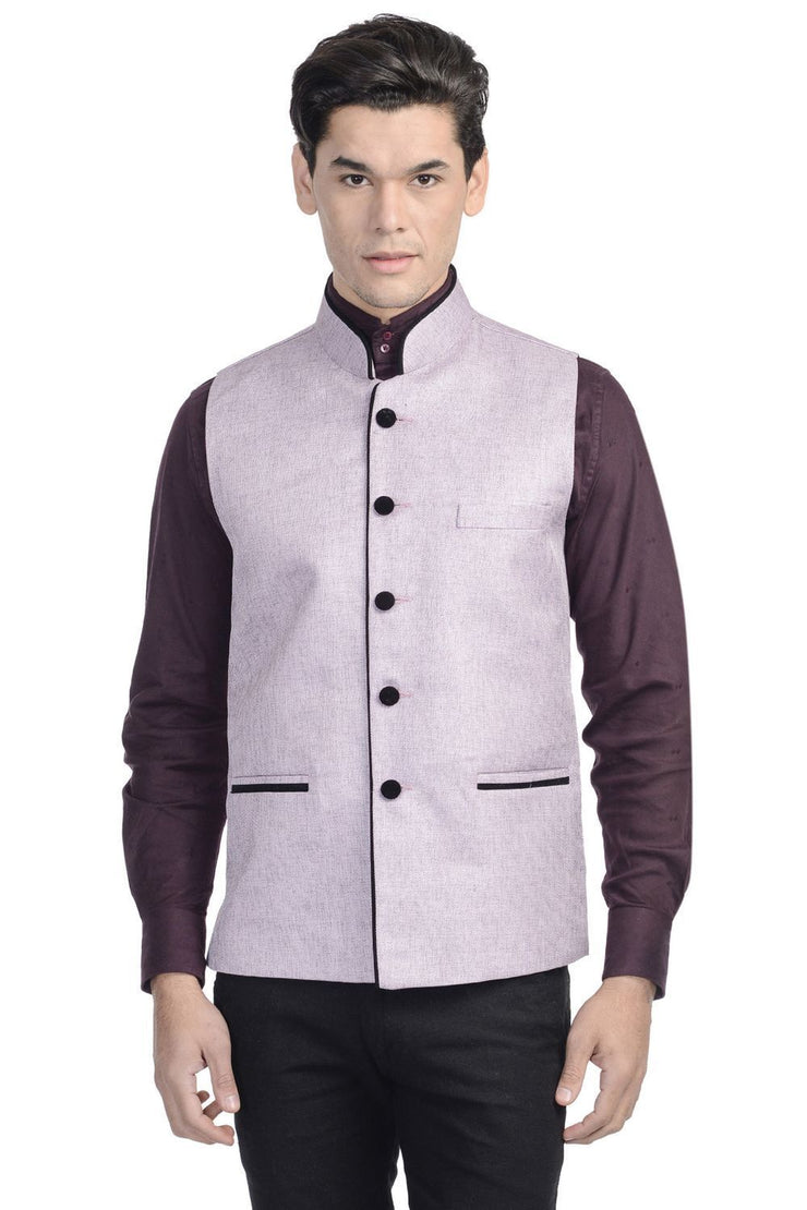 Rayon Purple Nehru Jacket