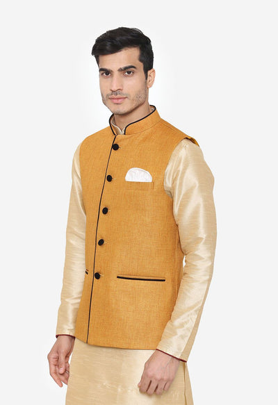 Rayon Yellow Nehru Modi Jacket