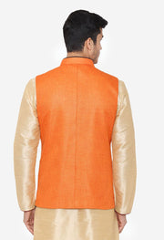 Rayon Orange Nehru Modi Jacket