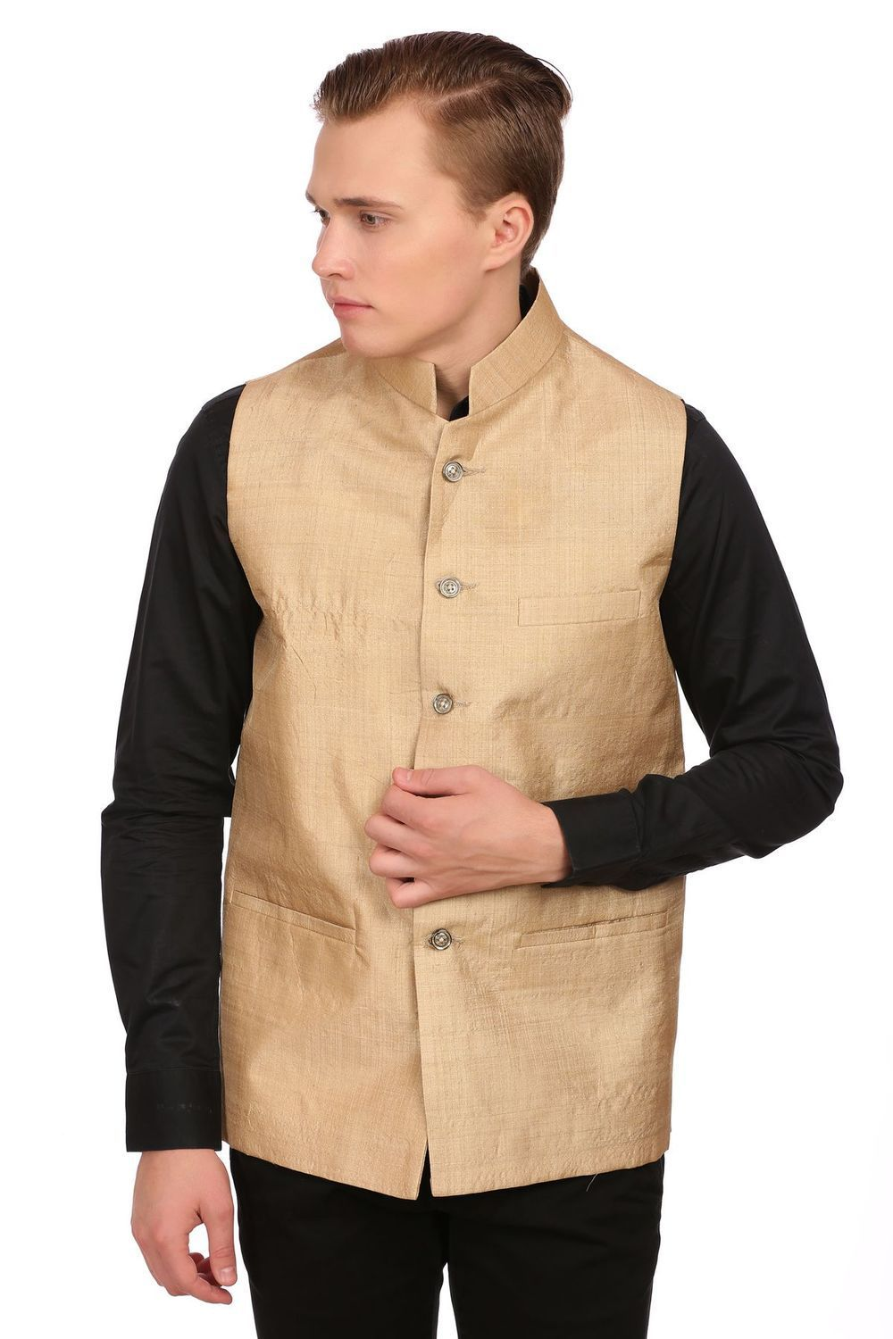 Pure Muga Silk Gold Nehru Jacket